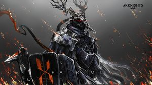 Rating: Safe Score: 28 Tags: all_male arknights armor fire horns logo male patriot_(arknights) red_eyes spear tagme tagme_(artist) weapon User: PrimalAgony