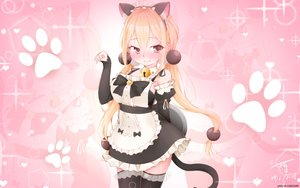 Rating: Safe Score: 63 Tags: animal_ears apron bell blonde_hair blush catgirl headdress long_hair maid pink red_eyes signed sunkazer tail thighhighs twintails waitress watermark xiaoyuan you_can_eat_the_girl zoom_layer User: otaku_emmy