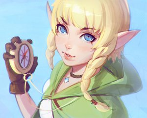 Rating: Safe Score: 71 Tags: blonde_hair blue_eyes braids cropped gloves hoodie ilya_kuvshinov linkle_(zelda) necklace pointed_ears the_legend_of_zelda twintails User: mattiasc02