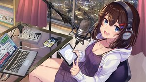 Rating: Safe Score: 54 Tags: aqua_eyes blush brown_hair building city computer dress headphones hoodie kty_(jarijarikun) microphone original phone short_hair User: BattlequeenYume
