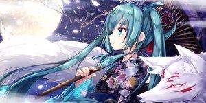 Rating: Safe Score: 79 Tags: akino_coto animal fox hatsune_miku japanese_clothes kimono moon umbrella vocaloid User: sadodere-chan