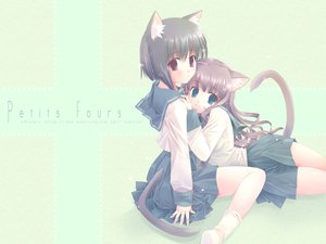 Rating: Safe Score: 16 Tags: 2girls animal_ears black_hair blue_eyes brown_hair catgirl loli long_hair red_eyes school_uniform short_hair tail touto_seiro User: Oyashiro-sama