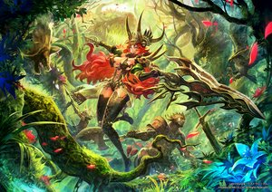 Rating: Safe Score: 104 Tags: animal animal_ears armor bird bow_(weapon) breasts cleavage flowers forest grass headdress lack leaves long_hair original red_hair sword thighhighs tree weapon User: Flandre93