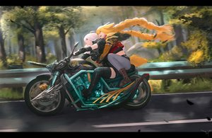 Rating: Safe Score: 6 Tags: 2girls animal_ears blonde_hair boots braids ex-trident feathers forest gloves hug long_hair motorcycle original thighhighs tree twintails white_hair zettai_ryouiki User: otaku_emmy