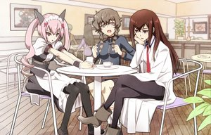 Rating: Safe Score: 97 Tags: amane_suzuha animal_ears black_eyes boots braids brown_hair catgirl drink faris_nyannyan gray_eyes headdress long_hair makise_kurisu nyoronyoro pantyhose pink_hair socks steins;gate tie twintails User: aoyoru