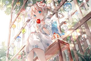 Rating: Safe Score: 95 Tags: aliasing amafuyu apple blonde_hair blush bubbles candy food fruit green_eyes japanese_clothes loli mask original ponytail strawberry wristwear yukata User: BattlequeenYume