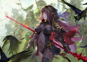 Rating: Safe Score: 71 Tags: animal armor bird bodysuit breasts fate/grand_order fate_(series) gloves headdress long_hair male navel purple_hair qmo_(chalsoma) red_eyes scathach_(fate/grand_order) skintight spear weapon User: luckyluna