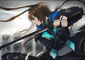 Rating: Safe Score: 39 Tags: amiya_(arknights) animal_ears arknights blue_eyes brown_hair long_hair marumoru sword weapon User: sadodere-chan