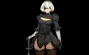 Rating: Safe Score: 128 Tags: black blindfold breasts cleavage elbow_gloves gloves gray_hair headband katana nier nier:_automata norman_maggot short_hair sword thighhighs weapon yorha_unit_no._2_type_b User: Dust