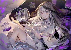 Rating: Safe Score: 108 Tags: animal bicolored_eyes breasts dress gray_hair kouyafu long_hair original User: RyuZU