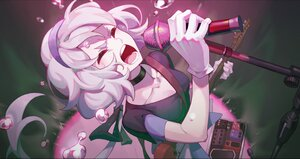 Rating: Safe Score: 32 Tags: breasts cheese_kang cleavage cropped gloves guitar headband instrument konno_junko microphone white_hair zombie_land_saga User: SnekNOTSnake
