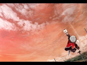 Rating: Safe Score: 49 Tags: animal_ears brown_eyes clouds hat inubashiri_momiji japanese_clothes kanato landscape scenic short_hair sky sword tail touhou weapon white_hair wolfgirl User: w7382001