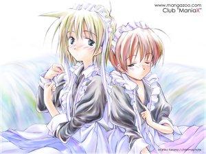 Rating: Safe Score: 0 Tags: 2girls blonde_hair brown_hair club_maniax headdress maid takano_otohiko watermark User: Oyashiro-sama