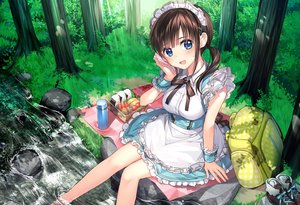 Rating: Safe Score: 52 Tags: food forest headdress maid mochiko_(mochiko3121) original tree water wristwear User: FormX