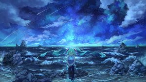 Rating: Safe Score: 64 Tags: aqua_eyes aqua_hair clouds hatsune_miku long_hair night pippi_(p3i2) sky stars twintails vocaloid water User: FormX