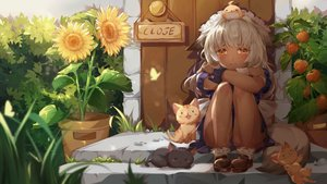 Rating: Safe Score: 96 Tags: animal animal_ears cat dark_skin flowers foxgirl game_cg headdress long_hair maid mirror_(game) slave_hill sunflower tagme_(artist) tail white_hair yellow_eyes User: Demuwu