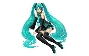 Rating: Safe Score: 63 Tags: aqua_eyes aqua_hair fayse hatsune_miku long_hair thighhighs tie twintails vocaloid white User: gnarf1975