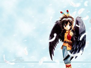 Rating: Safe Score: 21 Tags: +anima brown_eyes brown_hair clouds cooro goggles wings User: Oyashiro-sama
