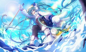 Rating: Safe Score: 75 Tags: boots gloves goggles hatsune_miku long_hair miemia skirt snow twintails vocaloid yuki_miku User: Flandre93