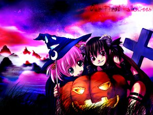 Rating: Safe Score: 8 Tags: askray demon halloween moe_(bosshi) pumpkin witch yu_(bosshi) User: Oyashiro-sama
