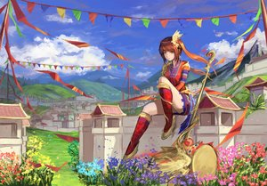 Rating: Safe Score: 114 Tags: animal bird boots clouds dress drums flowers grass gundam_build_fighters gundam_(series) headdress instrument natsumoka original red_hair scenic sky staff twintails yellow_eyes User: mattiasc02