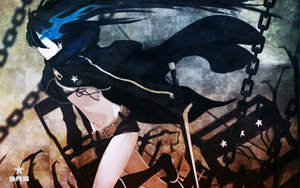Rating: Safe Score: 91 Tags: black_rock_shooter blue_eyes blue_hair boots chain huke kuroi_mato open_shirt shorts sword weapon User: meccrain