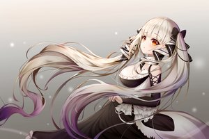 Rating: Safe Score: 68 Tags: anthropomorphism azur_lane bow breasts formidable_(azur_lane) goth-loli gradient gray gray_hair lolita_fashion long_hair orange_eyes shalsqk skirt_lift twintails User: BattlequeenYume