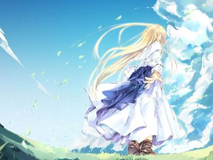 Rating: Safe Score: 12 Tags: blonde_hair clouds dress long_hair sky sumi_keiichi tagme User: Oyashiro-sama