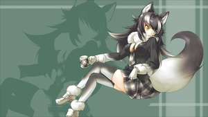 Rating: Safe Score: 41 Tags: animal_ears anthropomorphism bicolored_eyes black_hair breasts drink gloves gray_wolf_(kemono_friends) hokuto_(tomoki_yuuko kemono_friends long_hair skirt tail thighhighs tie wolfgirl User: RyuZU