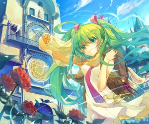 Rating: Safe Score: 76 Tags: ane_niku aqua_hair building clouds flowers green_eyes green_hair hatsune_miku long_hair ribbons scarf sky twintails vocaloid waifu2x User: luckyluna