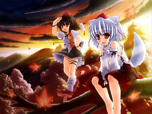 Rating: Safe Score: 21 Tags: animal_ears autumn barefoot black_hair camera clouds etogami_kazuya gray_hair hat inubashiri_momiji japanese_clothes leaves red_eyes shameimaru_aya short_hair skirt sky stars tail touhou tree wolfgirl User: rargy