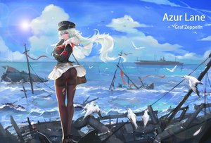 Rating: Safe Score: 48 Tags: animal anthropomorphism ass azur_lane bird boat cape clouds gloves graf_zeppelin_(azur_lane) guernica hat long_hair military pantyhose pink_eyes scenic skirt sky torn_clothes uniform water white_hair User: BattlequeenYume