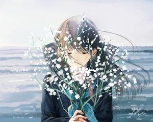 Rating: Safe Score: 52 Tags: brown_hair close flowers kazuharu_kina long_hair original seifuku signed User: RyuZU