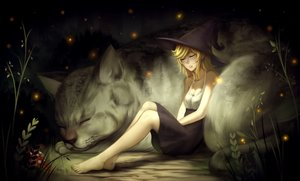 Rating: Safe Score: 85 Tags: animal barefoot blonde_hair breasts cat cleavage hat ragecndy witch_hat User: mattiasc02