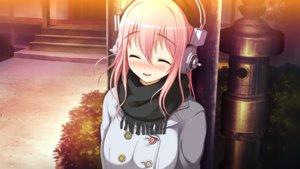 Rating: Safe Score: 106 Tags: blush game_cg headphones koi_de_wa_naku nitroplus pink_hair scarf sonico super_sonico tsuji_santa User: luckyluna