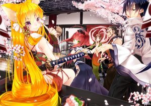 Rating: Safe Score: 144 Tags: 218 animal_ears black_hair blonde_hair brown_hair building cherry_blossoms food foxgirl green_eyes group hat katana long_hair male original purple_eyes red_hair sword weapon wings User: Flandre93