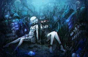 Rating: Safe Score: 129 Tags: abyssal_twin_hime anthropomorphism kajaneko kantai_collection twins underwater water User: luckyluna
