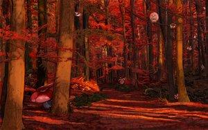Rating: Safe Score: 52 Tags: autumn bounsweet celesteela comfey cutiefly dark exeggutor fomantis forest minior morelull oricorio pikipek pokemon red rowlet satou_yuka shade tree vileplume User: FormX