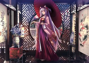 Rating: Safe Score: 44 Tags: aliasing animal_ears applekun bicolored_eyes chinese_clothes flowers gray_hair long_hair original petals umbrella User: BattlequeenYume