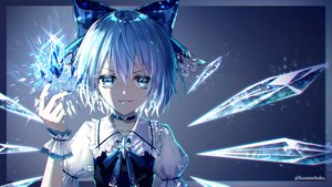 Rating: Safe Score: 86 Tags: aqua_eyes aqua_hair bow choker cirno close fairy kazunehaka magic short_hair touhou watermark wings wristwear User: otaku_emmy