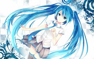 Rating: Safe Score: 123 Tags: bisonbison blue_eyes blue_hair hatsune_miku long_hair skirt thighhighs tie twintails vocaloid white User: mikulover