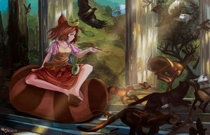 Rating: Safe Score: 101 Tags: animal animal_ears bird brown_hair bunny fox futatsuiwa_mamizou magician_(artist) red_eyes short_hair signed tail touhou User: RyuZU
