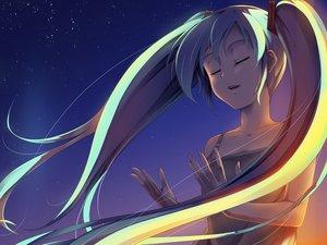Rating: Safe Score: 26 Tags: blue green_hair hatsune_miku long_hair night sky stars sunset twintails vocaloid User: humanpinka