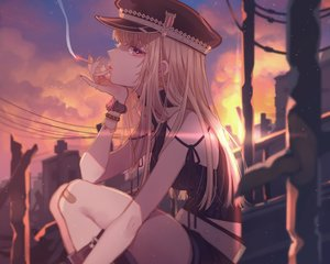 Rating: Safe Score: 32 Tags: 778-go bandaid blonde_hair cigarette clouds cropped hat kneehighs long_hair original purple_eyes smoking sunset wristwear User: mattiasc02