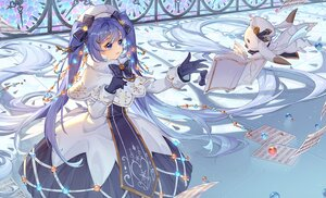 Rating: Safe Score: 31 Tags: animal aqua_eyes blue_hair book bow dress gloves hat hatsune_miku kan_(rainconan) paper rabbit twintails vocaloid yuki_miku yukine_(vocaloid) User: Maboroshi