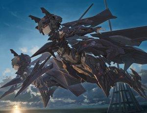 Rating: Safe Score: 49 Tags: 2girls ace_combat ace_combat_7 adf-11f aircraft anthropomorphism clouds red_eyes sky sunset techgirl tom-neko_(zamudo_akiyuki) weapon User: sadodere-chan