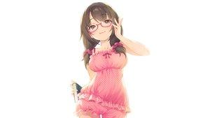 Rating: Safe Score: 101 Tags: book brown_eyes brown_hair glasses long_hair original pajamas pokachu shorts twintails white User: RyuZU