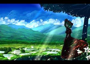 Rating: Safe Score: 116 Tags: dress flowers green_eyes green_hair headdress kagiyama_hina landscape long_hair petals scenic touhou tree umigarasu_(kitsune1963) wristwear User: Flandre93
