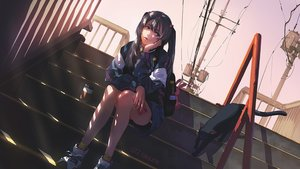 Rating: Safe Score: 50 Tags: animal bike_shorts black_hair bunny cat drink green_eyes g-tz jpeg_artifacts original shade shorts signed socks stairs twintails watermark User: gnarf1975