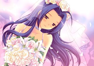 Rating: Safe Score: 74 Tags: blue_hair choker flowers idolmaster long_hair mame-p miura_azusa purple_eyes rose wedding_attire User: opai